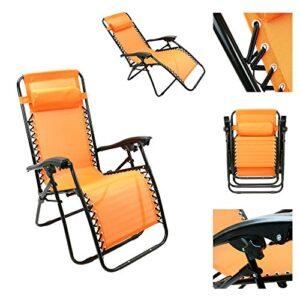 Outsunny Single Lounge Reclining Folding Chair Orange