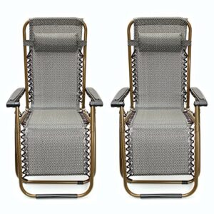 KINGSO Sports Gray Zero Gravity Recliner Chair set of 2