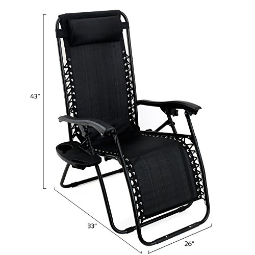 Arksen Black Zero Gravity Patio Chairs 2 Pack