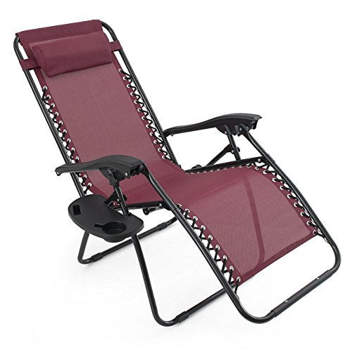 pack zero gravity patio lounge chairs cup holder utility tray burgundy chair bed bath and beyond review with canopy