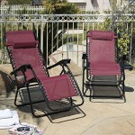 Arksen Burgundy Zero Gravity Patio Chairs 2 Pack