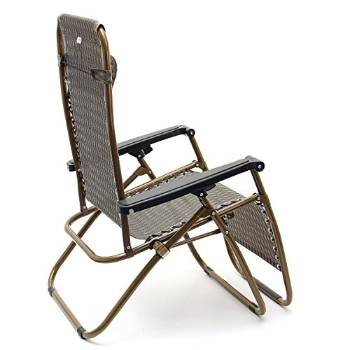KINGSO Sports Khaki Zero Gravity Recliner Chair set of 2