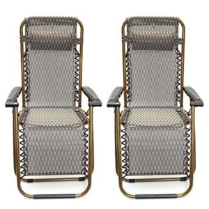 KINGSO Sports Khaki Zero Gravity Recliner Chair set of 2