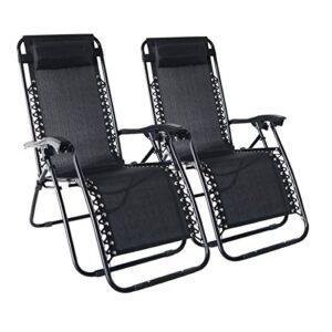 Odaof Zero Gravity Chair Black pack of 2