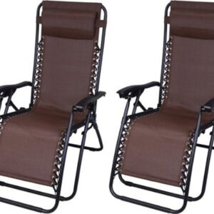 Outsunny Zero Gravity Recliner Lounge Chair Brown - Pack of 2