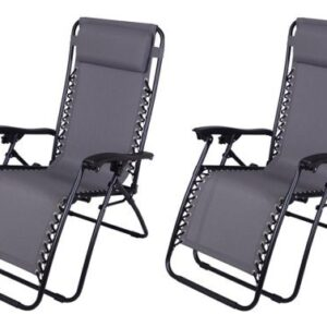 Outsunny Zero Gravity Recliner Lounge Chair Gray - Pack of 2