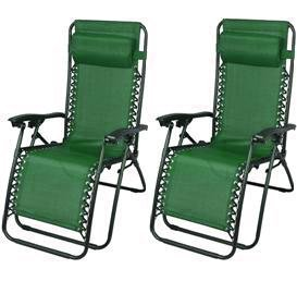Outsunny Zero Gravity Recliner Lounge Chair Green - Pack of 2