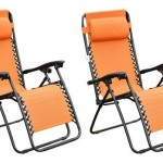 Outsunny Zero Gravity Recliner Lounge Chair Orange Pack of 2