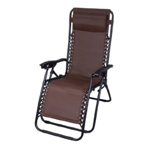 Outsunny Zero Gravity Recliner Lounge Chair Brown
