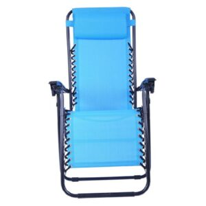 Outsunny Zero Gravity Recliner Lounge Chair Light Blue
