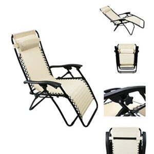 Outsunny Single Lounge Reclining Folding Chair Khaki