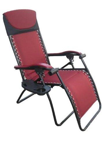 Wilcor Deluxe Large Burgandy Red Zero Gravity Chair