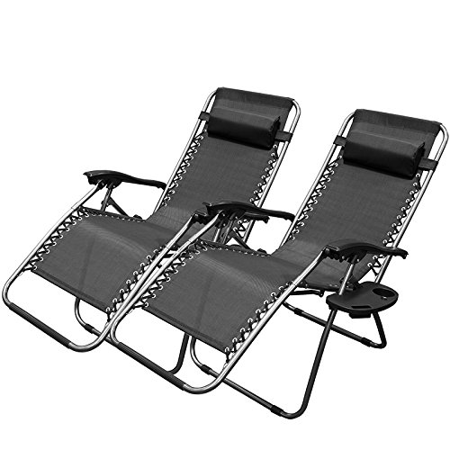 Xtremepowerus Black Zero Gravity Adjustable Chair Set Of 2
