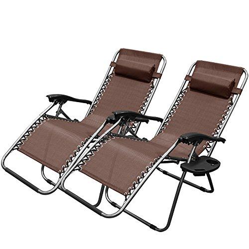 XtremepowerUS Brown Zero Gravity Adjustable Chair - Set of 2