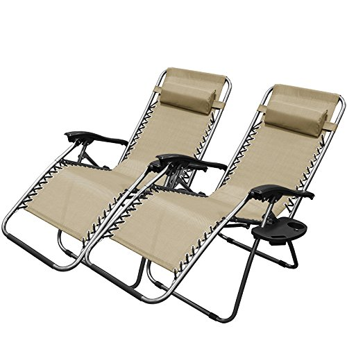 Xtremepowerus Gravity Adjustable Reclining Chair Pool Patio Outdoor Lounge Chairs Set Of Pair Tan on Best Rated Zero Gravity Chairs