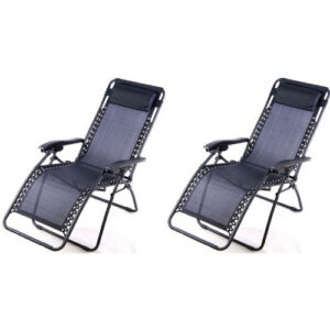 Outsunny Zero Gravity Recliner Lounge Chair Black - Pack of 2
