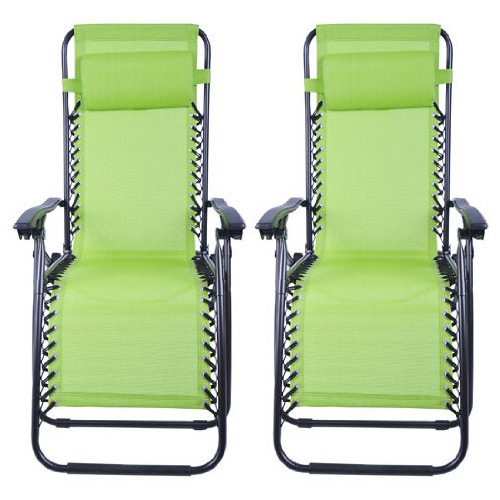 Outsunny Zero Gravity Recliner Lounge Chair Lime - Pack of 2