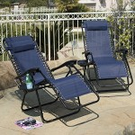 Arksen Navy Blue Zero Gravity Patio Chairs 2 Pack