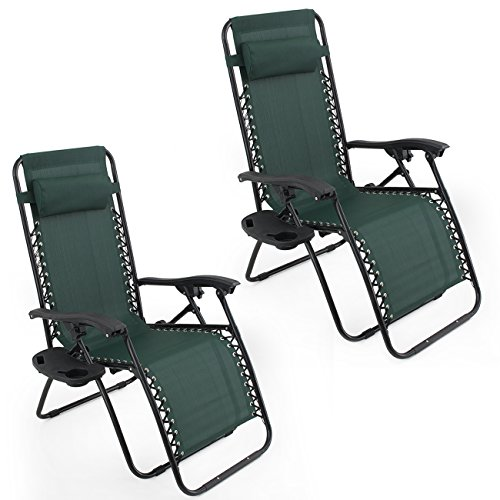 arksen dark green zero gravity patio chairs 2 pack