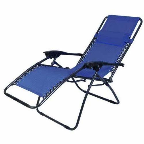 Outsunny Zero Gravity Recliner Lounge Chair Blue Pack of 2