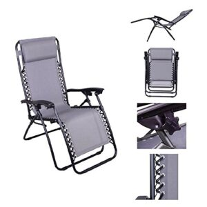Outsunny Single Lounge Reclining Folding Chair Gray