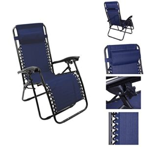 Outsunny Single Lounge Reclining Folding Chair Navy Blue