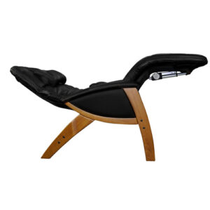 Svago Zero Gravity Chair Black Leather Honey Finish