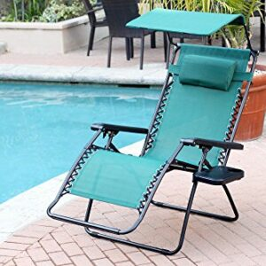 Jeco Green Oversized Zero Gravity Chair with Sunshade