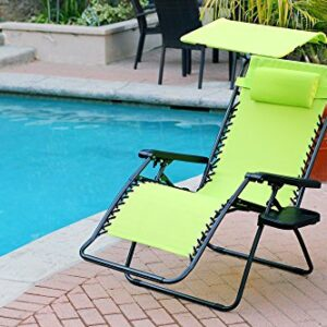 Jeco Lime Green Oversized Zero Gravity Chair with Sunshade