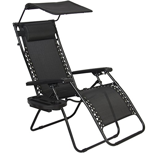 Best Choice Products Zero Gravity Chair with Canopy Sun Shade - Black  sc 1 st  My Zero Gravity Chair & Best Choice Products Zero Gravity Chair with Sun Canopy - Black ...