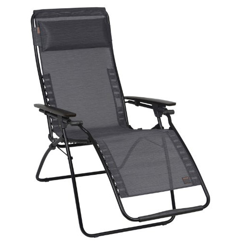 gravity reclining chair by varier zero recliner black frame obsidian natural fabric sun lounger outdoor patio chairs