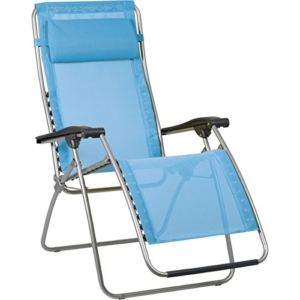 Lafuma RSX Clip Zero Gravity Recliner Chair - Grey Steel Frame with Iso Batyline Fabric - Ceil Blue