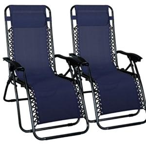 Odaof Zero Gravity Chair Blue Set of 2