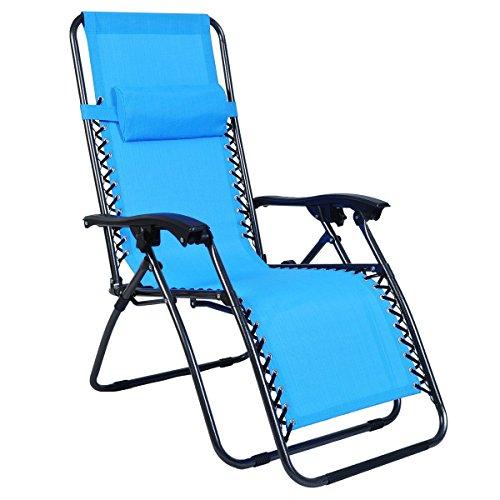 Odaof Adjustable Outdoor Zero Gravity Chair Light Blue