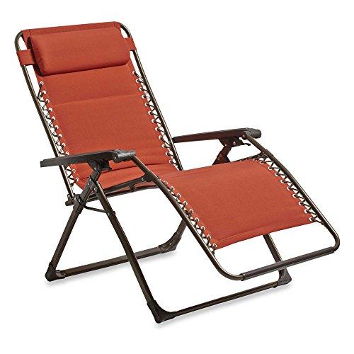 Hawthorne Oversized Padded Zero Gravity Patio Chair   Terra Cotta Red