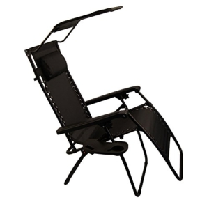 Sundale Outdoor Folding Zero Gravity Chair with Canopy - Black