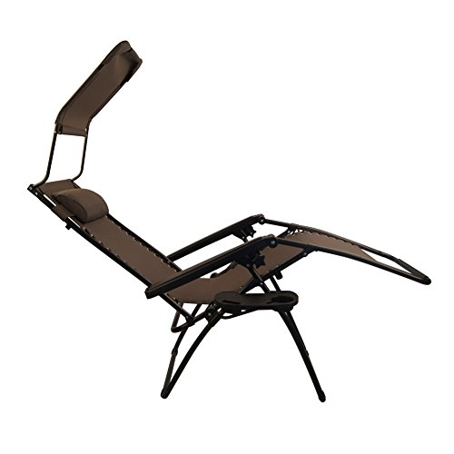 Sundale Outdoor Zero Gravity Chair with Canopy - Brown OUR ...