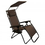 Sundale Outdoor Folding Zero Gravity Chair with Canopy - Brown