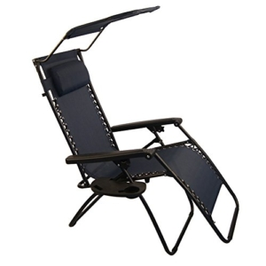 Sundale Outdoor Folding Zero Gravity Chair with Canopy - Navy Blue