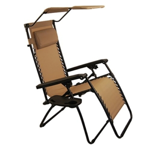 Sundale Outdoor Folding Zero Gravity Chair with Canopy - Tan