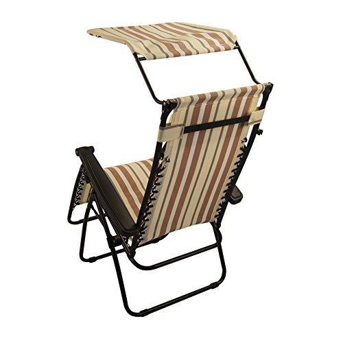 Sundale Outdoor Zero Gravity Chair with Canopy Yellow and Coffee Stripe OUR