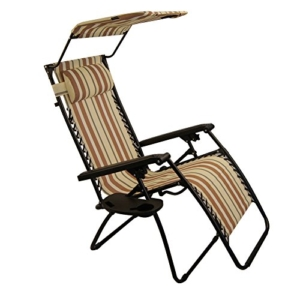 Sundale Outdoor Folding Zero Gravity Chair with Canopy - Yellow and Coffee Stripe