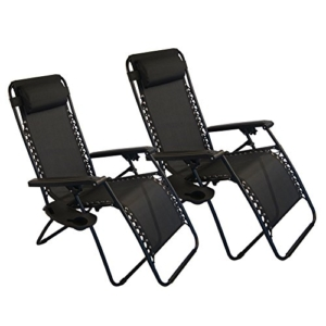 Sundale Outdoor Zero Gravity Chair 2 Pack - Black