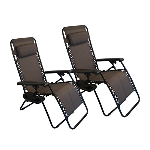 Sundale Outdoor Zero Gravity Chair 2 Pack   Brown