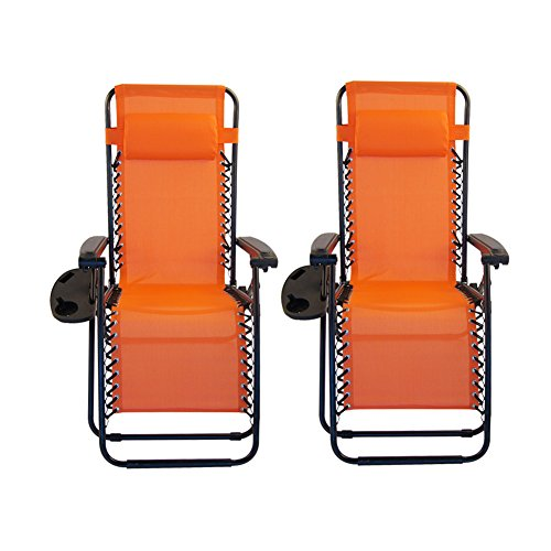 Sundale Outdoor Zero Gravity Recliner Chairs 2 Pack With Cup Holders Orange Our Rating 4 2