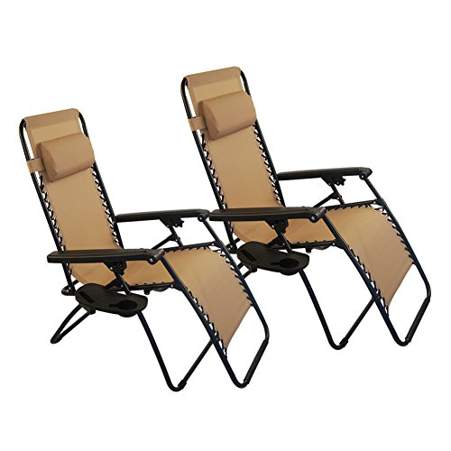 Sundale Outdoor Zero Gravity Chair 2 Pack   Tan