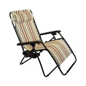 Sundale Outdoor Oversided Zero Gravity Chair - Yellow and Coffee Stripe