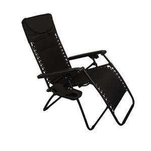 Sundale Outdoor Padded Quilted Zero Gravity Chair - Black