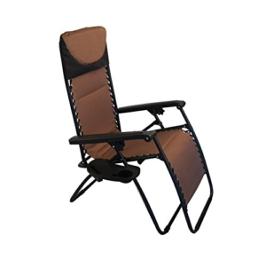 Sundale Outdoor Padded Quilted Zero Gravity Chair - Brown