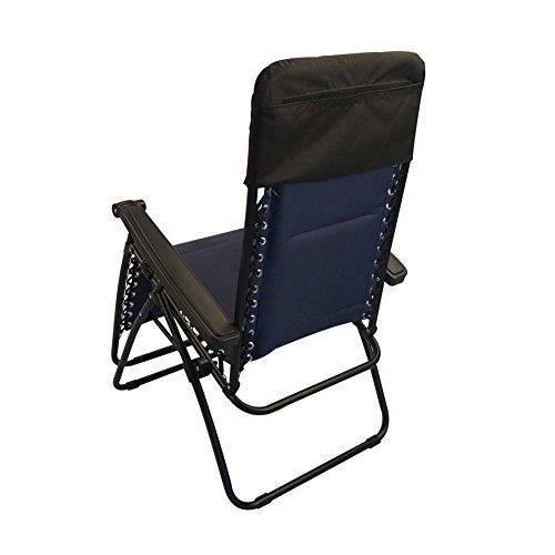 Sundale Outdoor Quilted Zero Gravity Chair with Utility Tray Navy Blue OUR